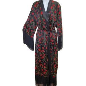 Victoria's Secret black fringe red rose collector robe